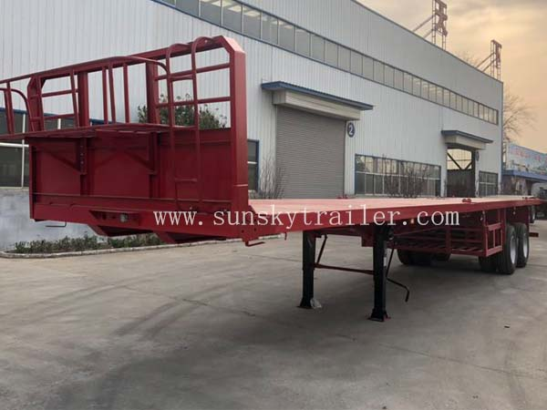 45 FT Flatbed Trailer 2 Axle With Bogie Suspension