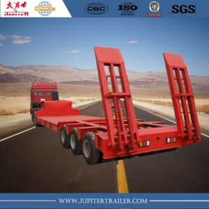 Heavy duty hydraulic 120tn low bed semi trailer, low bed trailer truck with 3 row 6 axles