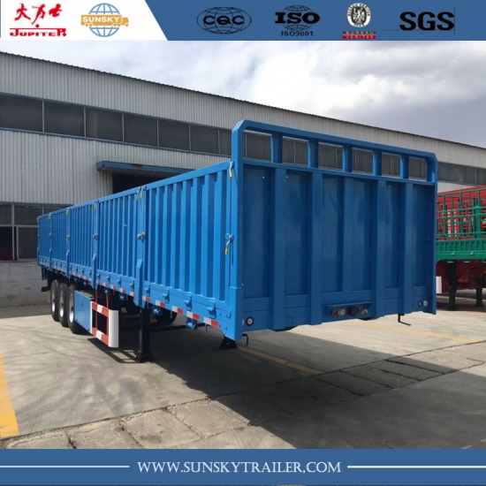 40ft 3-Axle flat bed Semi-Trailer with side wall