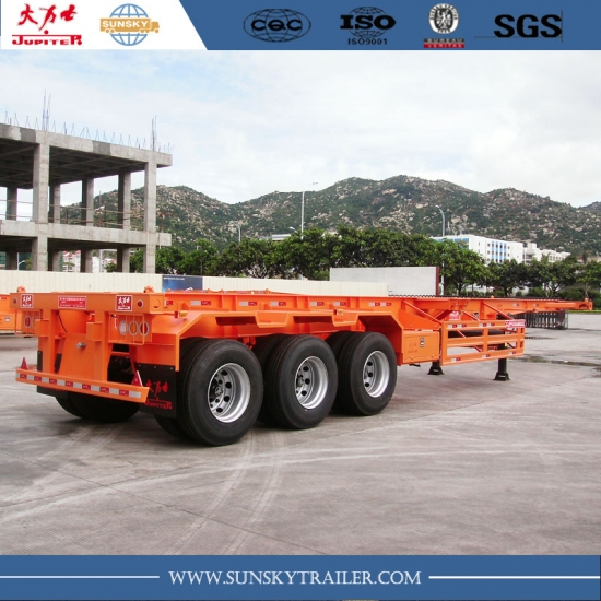 Cheap and durable 40 FT 3 Axles Skeleton Trailer For Sale