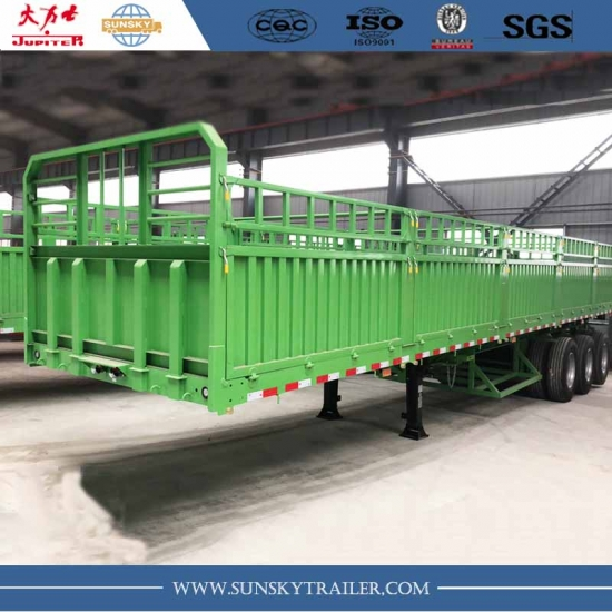 3-Axle flat bed Trailer With Side Wall