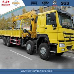 SINOTRUK HOWO 8X4 CARGO TRUCK WITH MOUNTED CRANE for sale
