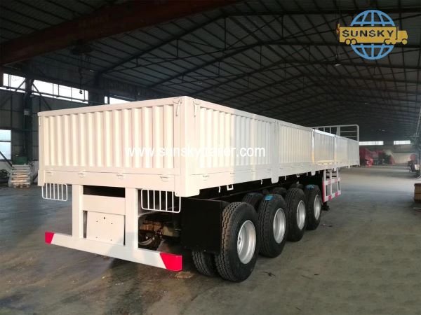 New product 2020: 4 Axle flatbed trailer and side wall trailer in promotion